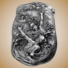 Fine Art Nouveau Sterling Silver Vesta Match Safe,William Kerr C.1900