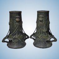 Pair Art Nouveau Vases, Blanche Poccard de Saintilau, French C.1900