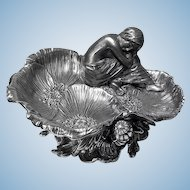 Art Nouveau Silver on Brass Poppy Centrepiece Vide-Poche, French C.1900