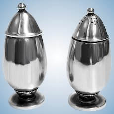 Pair Georg Jensen Silver Salt and Pepper Shakers Casters #629B