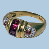 1980's 18K Ruby and Diamond Ring.