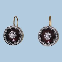 Pair of 18K Diamond Enamel Earrings, 20th century