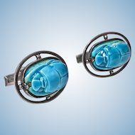 Pair of vintage Egyptian revival Silver turquoise scarab cufflinks C.1960
