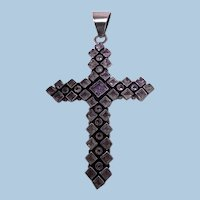 Large 1970's Vintage Sterling Silver Amethyst and Diamond Cross