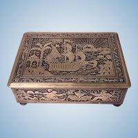 Art Deco Exotic Brass Jewellery Box, Germany C.1920