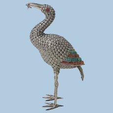 Sterling Silver turquoise and coral stone inlay Heron Egrit probably Chinese, C.1950