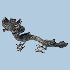 Sterling Silver Turquoise  Dragon, probably Chinese, C.1950