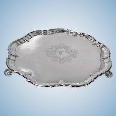 Antique Silver Salver, London 1892 Edward Hutton William Hutton and Sons