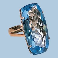 Blue Topaz and Gold custom Ring C.1970