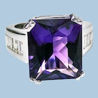 18K Amethyst Diamond Ring, 20th Century