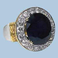 Large 18K  Diamond and Sapphire Ring