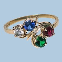 Diamond, Sapphire, Ruby and Tsavorite Gold Ring