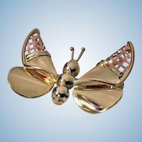 Gold Butterfly Brooch, Italy 20th century