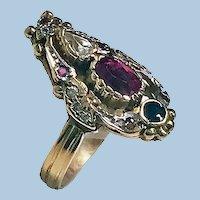 14K Art Nouveau style paste Ring