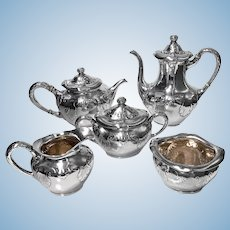 Gorham Sterling Art Nouveau Arts and Crafts hammered Tea and Coffee Set 1897