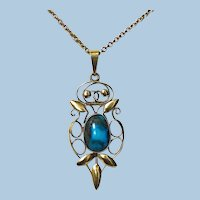 Liberty Gold Turquoise Arts and Crafts Art Nouveau Pendant C.1900 Haseler