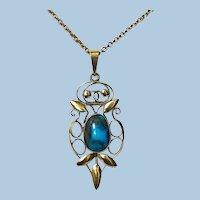 Liberty Gold Turquoise Arts and Crafts Art Nouveau Pendant C.1900 Haseler