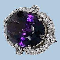 Belle Epoque Platinum Amethyst Diamond Brooch, English C.1910