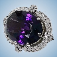 Belle Epoque Platinum Amethyst Diamond Brooch, English C.1910