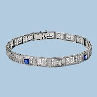 Art Deco Diamond Sapphire Gold Bracelet, C.1930