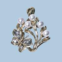 18K Butterfly Pendant Pearl Diamond Art Nouveau style