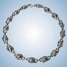 Carl Poul Petersen Sterling Silver Necklace, Montreal C.1940