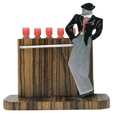 Rare French Art Deco Gentleman at Bar Cocktail Sticks Set C.1920