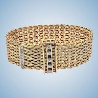 1970's 18K and Diamond mesh link wide adjustable Bracelet