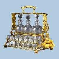 Art Nouveau French Gilded Bronze Tantalus and Liqueur Set