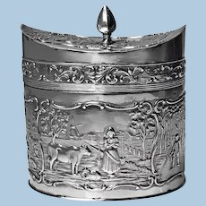 Antique Dutch Silver Tea Caddy H. Hooykaas C.1900