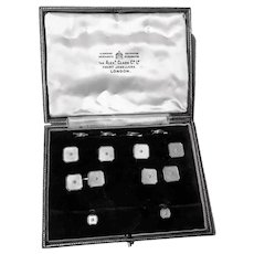 Art Deco Tuxedo Cufflinks Set Mother of Pearl Gold English C.1930