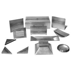 American Art Deco Desk Set Heintz Art Metal Shop Sterling on Bronze 9 piece,