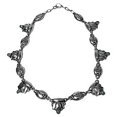 Georg Jensen rare design Sterling Silver Moonstone Necklace C.1933-44 No 3