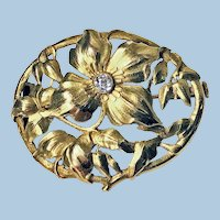 Art Nouveau 18K Diamond Brooch C.1900