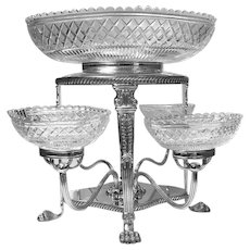 Sheffield Plate Cut Glass Centrepiece Epergne, English C.1890