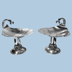 Pair Carl Poul Petersen Sterling Silver Compotes, Montreal, C.1940