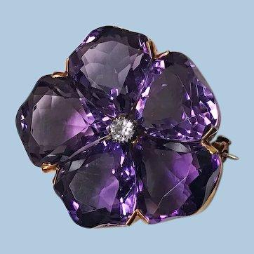 Amethyst and Diamond Pansy Brooch 18K C. 1900