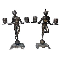 Pair Bronze Clown Candlesticks Sculptures Probably French C.1890