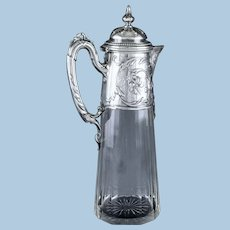 Art Nouveau Silver and Glass Claret Jug, Germany C.1900 J. Mayers Sohne