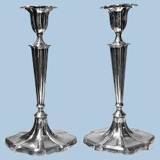 Georgian style Sterling Silver Candlesticks, Crichton, London 1917