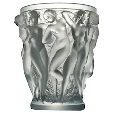 Lalique Frosted Glass Bacchantes Vase, 1927 -1980's production