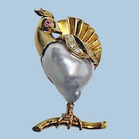 Whimsical 18K Gold Pearl Diamond Ruby Peacock Brooch