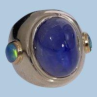 Stunning Gold Sapphire Opal Custom Ring C.1970