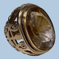 18K rose gold large Citrine Ring, C.1950