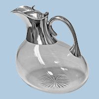Rare Antique Silver and Glass Askos shape Claret Jug, London 1895