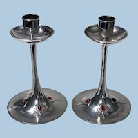Pair of Art Nouveau Jugendstil Pewter Candlesticks, C.1910