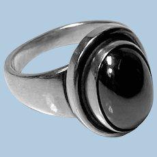 Georg Jensen Hematite Sterling Ring Harald Nielsen Design