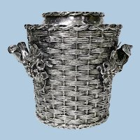 "Antique  Wine Cooler Bucket silver plated ""trompe l'oeil""  England, C 1880"
