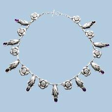 Georg Jensen rare design Sterling Amethyst Necklace C.1930, design No. 6