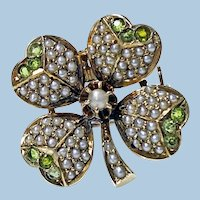 Antique Demantoid Pearl Gold Clover Pendant Brooch C.1890